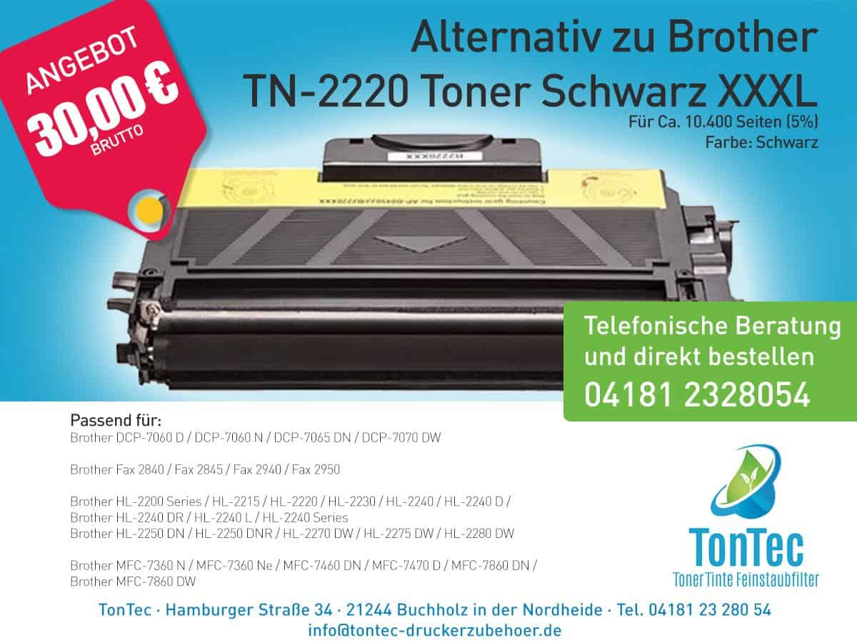 Alternativ zu Brother TN-2220 Toner Schwarz XXXL – TonTec