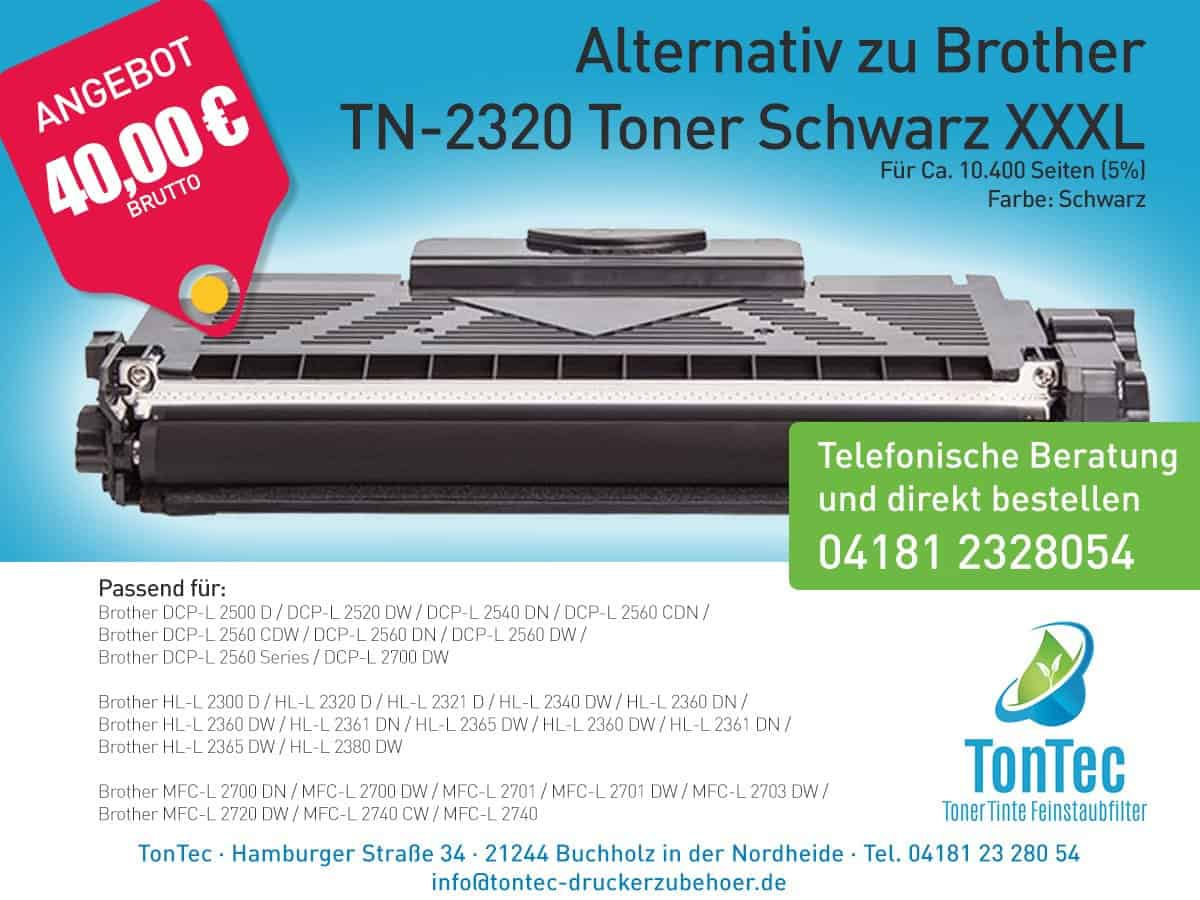 Alternativ zu Brother TN-2320 Toner Schwarz XXXL – TonTec