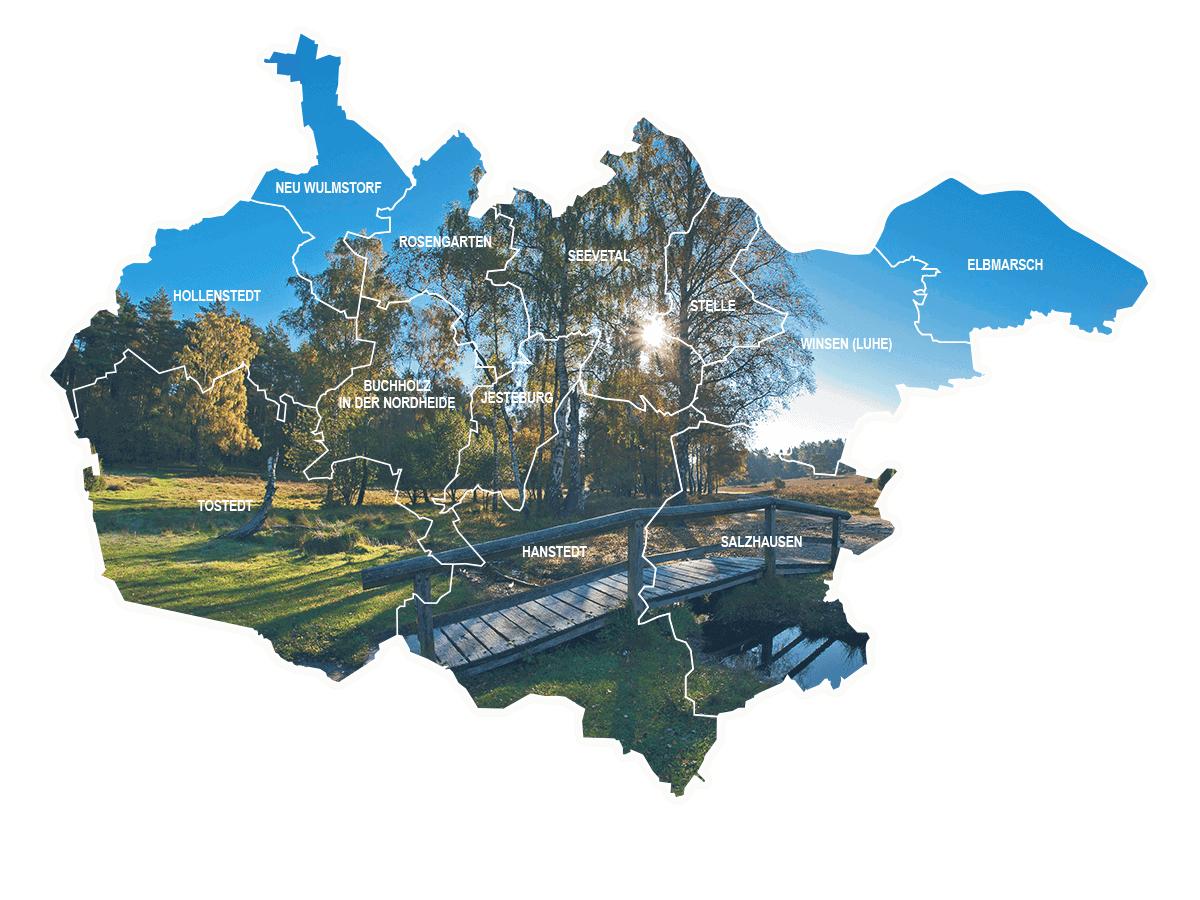 Landkreis Harburg mit zwölf Gemeinden